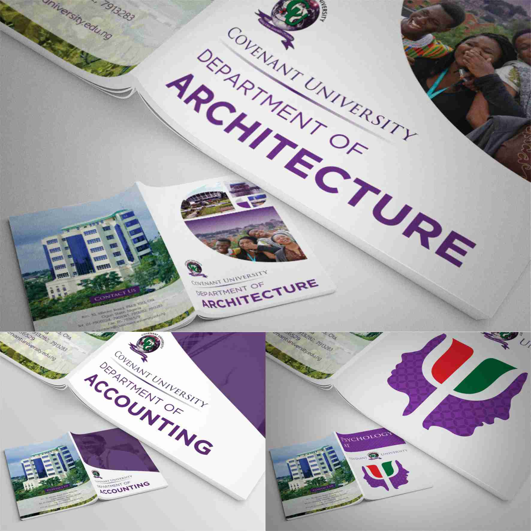 Covenant University departmental Brochures graphics design branding by David Rotimi