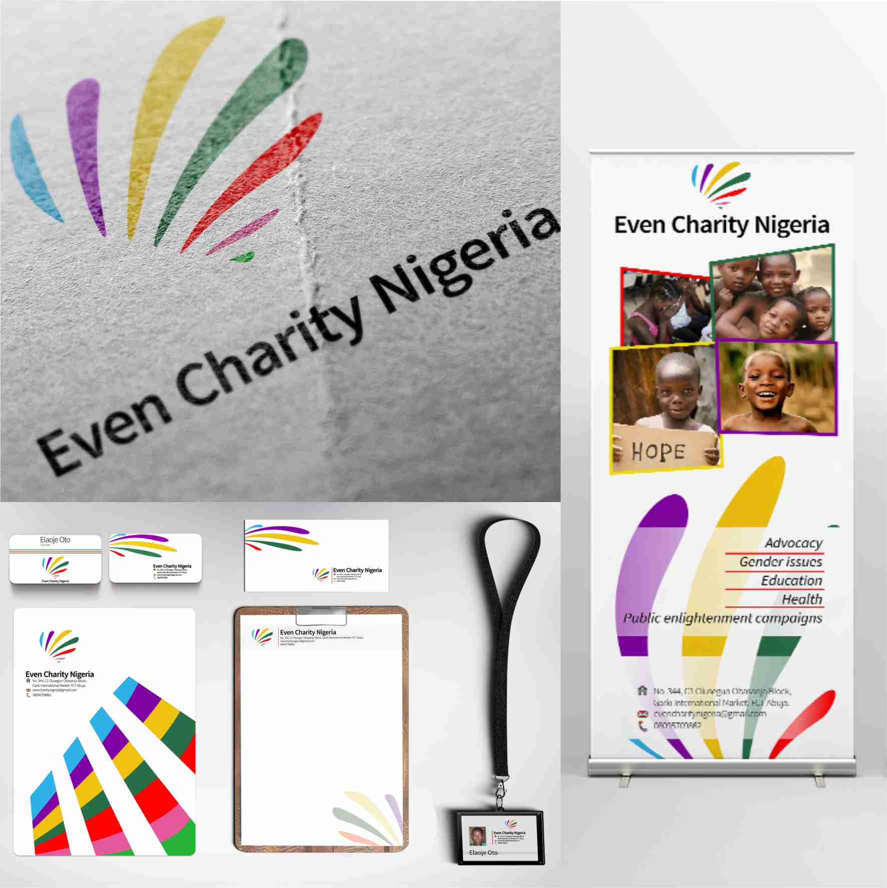 Even Charity Nigeria graphics design branding by David Rotimi